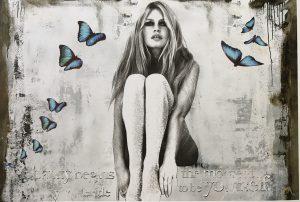 Devin Miles, Butterfly /Siebdruck und Malerei auf gebürstetem Aluminium