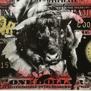 Devin Miles, Money Talks, Siebdruck und Malerei auf gebürstetem Aluminium