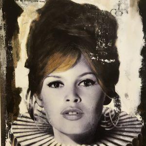Devin Miles, Brigitte, Siebdruck und Malerei auf gebürstetem Aluminium