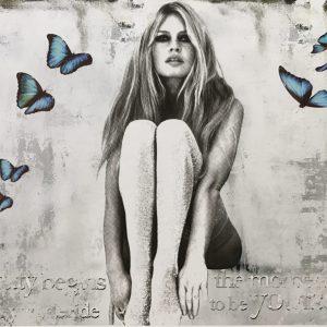 Devin Miles /Butterfly, Siebdruck und Malerei auf gebürstetem Aluminium