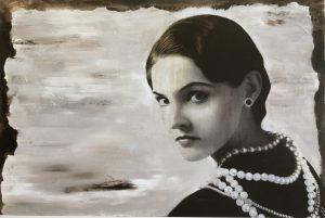 Devin Miles, Love Chanel, Siebdruck und Malerei auf gebürstetem Aluminium