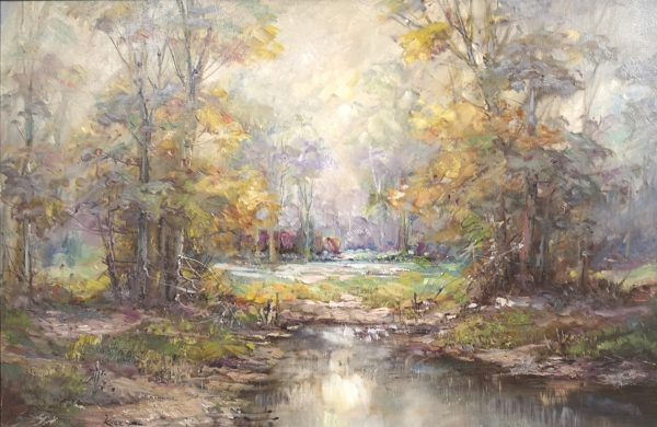 Janez J Kenz, Landschaft, Öl auf Leinwand
