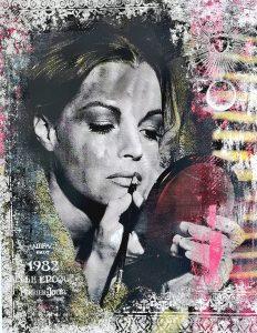 Devin Miles, So Emotional, Malerei, Airbrush undHandsiebdruck auf gebürstetem Aluminium