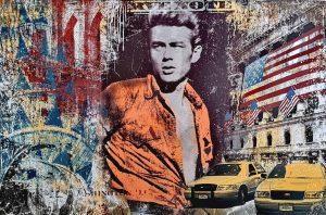 Devin Miles, American Boy, Malerei, Airbrush undHandsiebdruck auf gebürstetem Aluminium