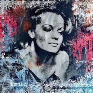 Devin Miles, Fortuna, Malerei, Airbrush undHandsiebdruck auf gebürstetem Aluminium