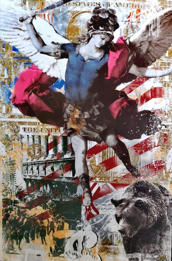 Devin Miles, Angel Falls Malerei, Airbrush undHandsiebdruck auf gebürstetem Aluminium