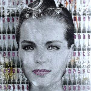 Devin Miles, Lipstick, Malerei, Airbrush undHandsiebdruck auf gebürstetem Aluminium