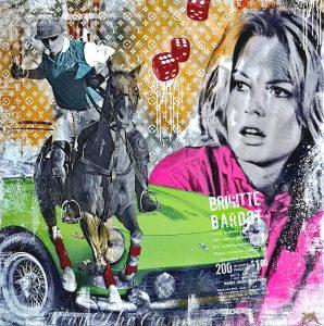 Devin Miles, Lucky Star, Malerei, Airbrush undHandsiebdruck auf gebürstetem Aluminium