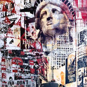 Devin Miles, New York, Malerei, Airbrush undHandsiebdruck auf gebürstetem Aluminium