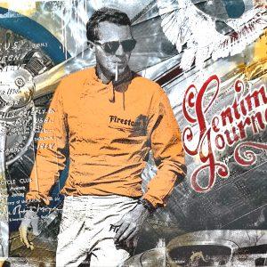 Devin Miles, Sentimental Journey, Malerei und Handsiebdruck auf gebürstetem Aluminium