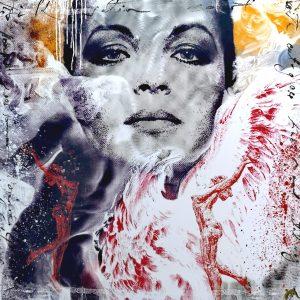 Devin Miles, David Malerei, Airbrush undHandsiebdruck auf gebürstetem Aluminium