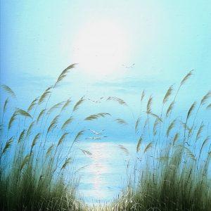 Blick auf See, Acryl auf Leinwand, Gerahmt