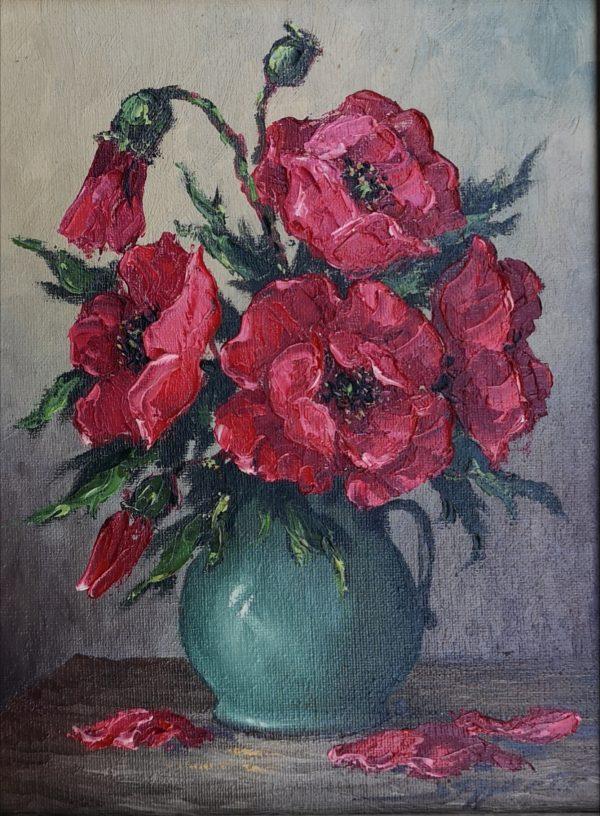 Gerold Eggert, Blumen in Vase, Öl auf Leinwand