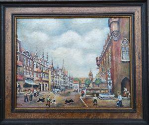 Straßenszene, Ölgemälde, Gerahmte Originale