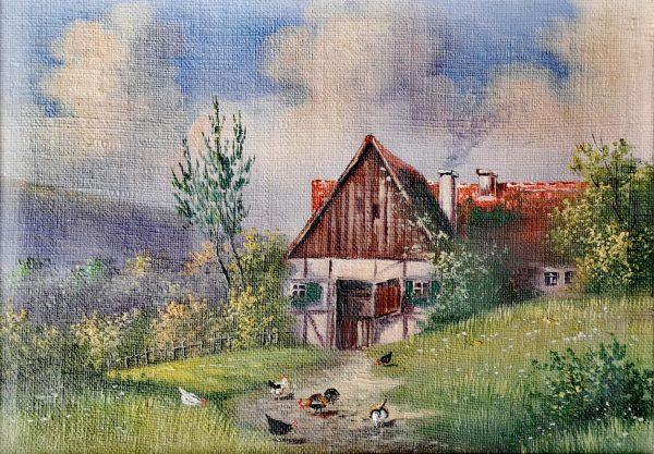 Hans Erich Pfennigschmidt, Ölgemälde, Bauernhof mit Hühner