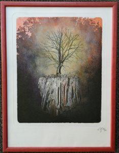 Radierung, Baum, Wurzeln