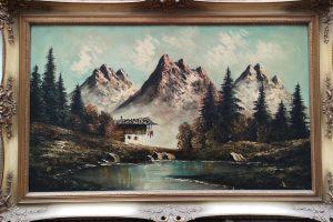 Bergsee mit Hütte, Ölgemälde