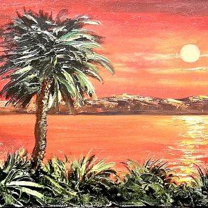 Palmen, Sonne, Ölgemälde