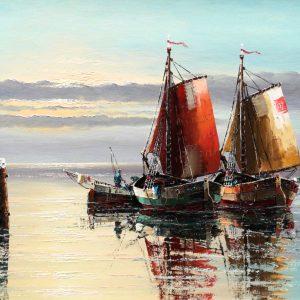 Gerold Eggert, Ölgemälde, Segelboot