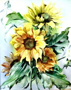 Rosenthal, Sonnenblumen, handgemalt