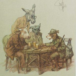 Jagdgeschichten, Kunstdruck,