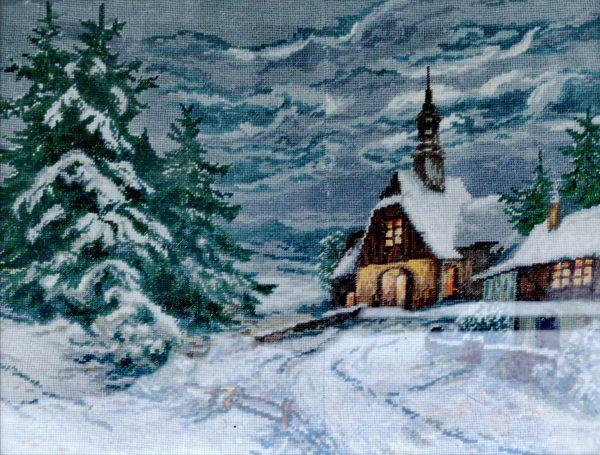 While Gobelin, Winterkapelle, Stickbild