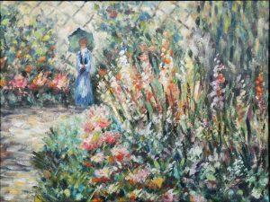 Acryl auf Leinwand, Dame im Blumengarten