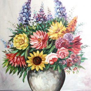 G. Rebstadt, Blumenstrauß, Ölgemälde