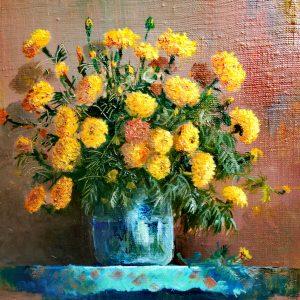 Yura Alekseev, Blumenstrauß, Ölgemälde,