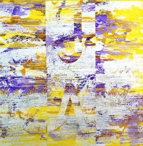 Ute Mohme, collage, Acryl auf Leinwand, Abstrakt, Text